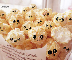 cute, popcorn, and food image