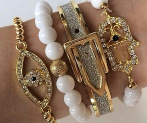 beautiful, bracelets, and white image