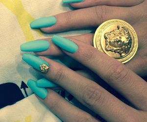 nails, blue, and Versace image