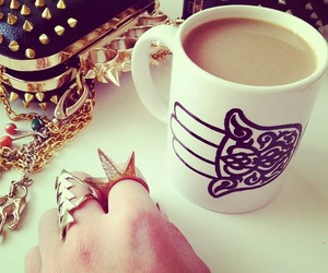 black, cup, and fashion image
