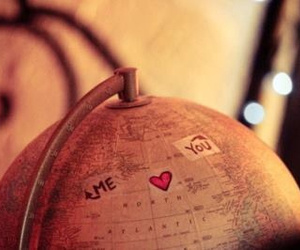 distance, globe, and heart image