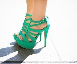 fashion, green, and high heels image