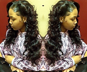 long hair, weave, and curled hair image