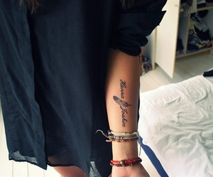 tattoo, feather, and arm image