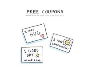 coupons, hug, and free image
