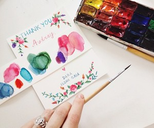 card, hand made, and water colours image