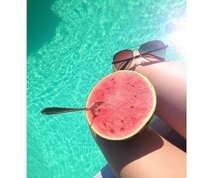 summer, watermelon, and pool image
