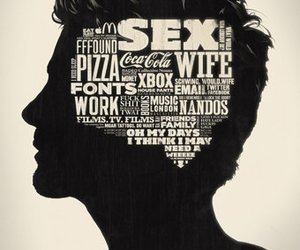 graphic art, typography, and portrait image