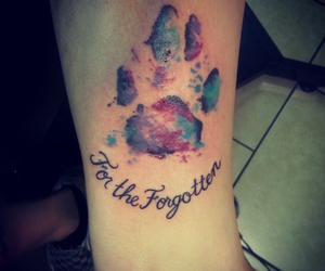 paw print, water color tattoo, and animal lover image