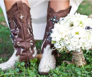 boots, flowers, and bride image