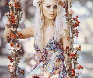 flowers, spring, and swing image