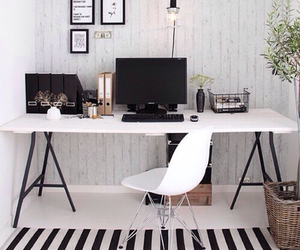 black and white, computer, and home image