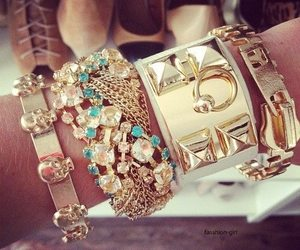 beautiful, bracelets, and gold image
