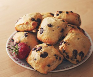 scones, food, and strawberry image