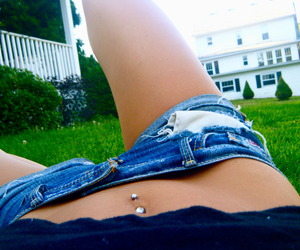 belly button ring, pretty, and shorts image