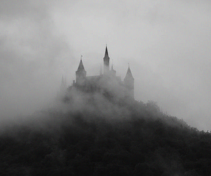 castle, fog, and black and white image