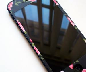 flowers, iphone, and black image