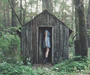 forest, girl, and house image