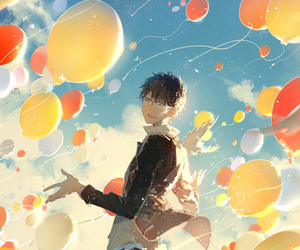 anime, boy, and balloons image