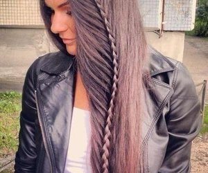 hair, long hair, and trenza image
