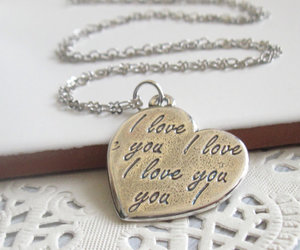 heart necklace, I Love You, and long necklace image