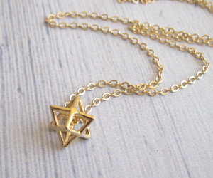 gold necklace, star of David, and star jewelry image