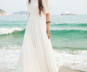 beach, summer, and white dress image