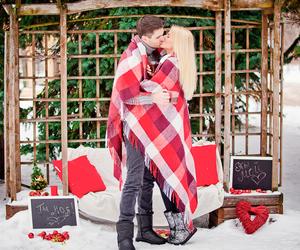 kiss, snow, and wedding image