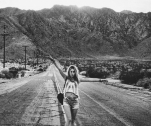 girl, black and white, and road image