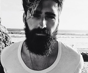 beard, beach, and black and white image
