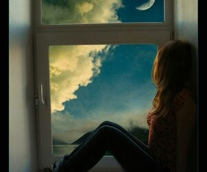 girl, moon, and sky image