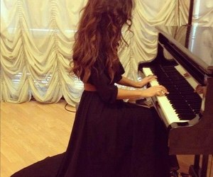 beauty, piano, and woman image