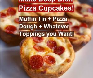 food, pizza, and cupcake image
