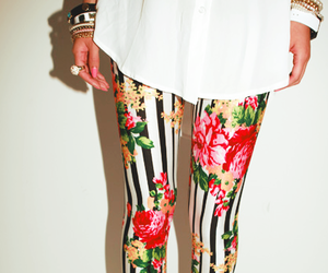 fashion, leggings, and flowers image
