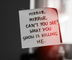 mirror, sad, and quote image