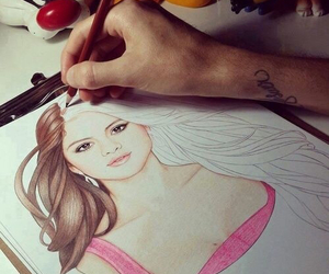 brunette, drawing, and gomez image