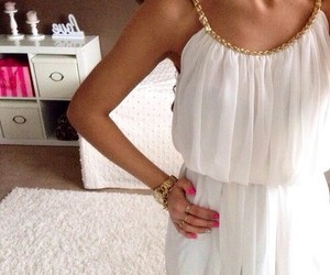 dress, white, and girl image