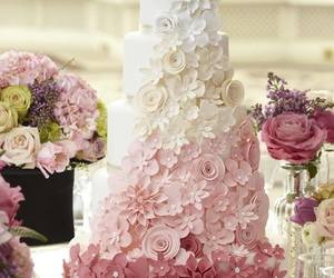 cake, beautiful, and flowers image