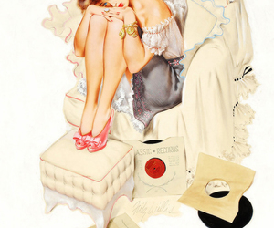 vintage, illustration, and Pin Up image