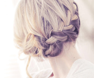 bun, hairdressing, and blondhair image