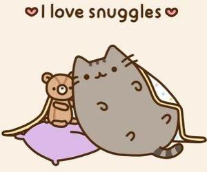cat, pusheen, and snuggle image