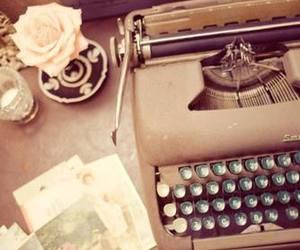 vintage, typewriter, and rose image