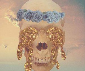 bones, flowers, and glitter image
