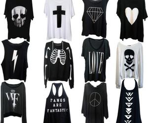 black, shirt, and skull image