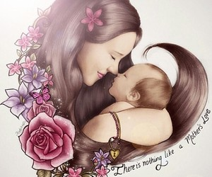 drawing, mother, and baby image