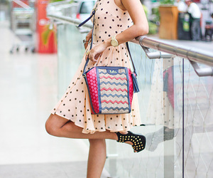 polka dots, summer dress, and leather bags image
