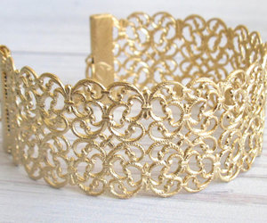 bridal jewelry, gold bracelet, and gold lace image
