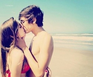 love, kiss, and beach image