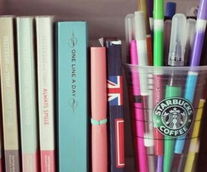 books, coffee, and decoration image