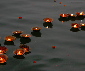 india, ganges river, and diya image